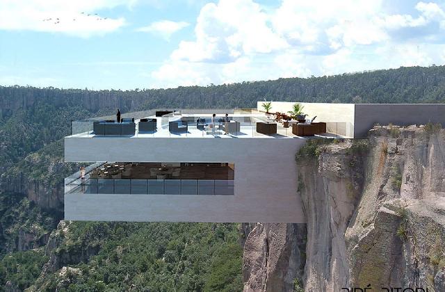 Die Bar mit Blick auf die Wasserfälle