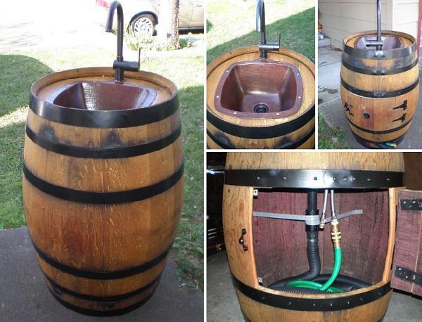Wie Ein Fass Wein In Einem Garten Waschbecken Zu Verwandeln
