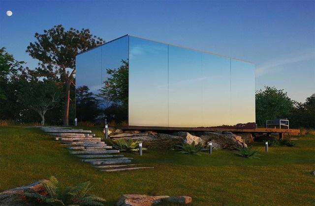 Ein Spiegelhaus, dass sich in wenigen Stunden montieren lässt