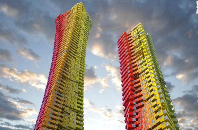 Bunte Container Wolkenkratzer in Mumbai, um die ärmsten Viertel neu zu gestalten